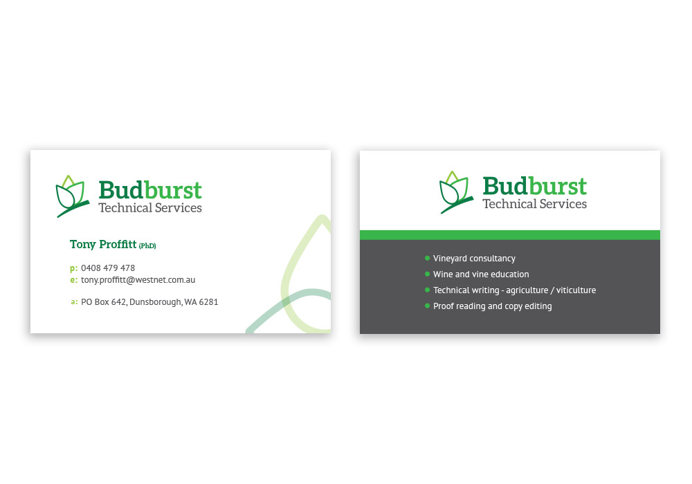 Budburst Technical Services - Business Card Design - Lucy Jordanoff