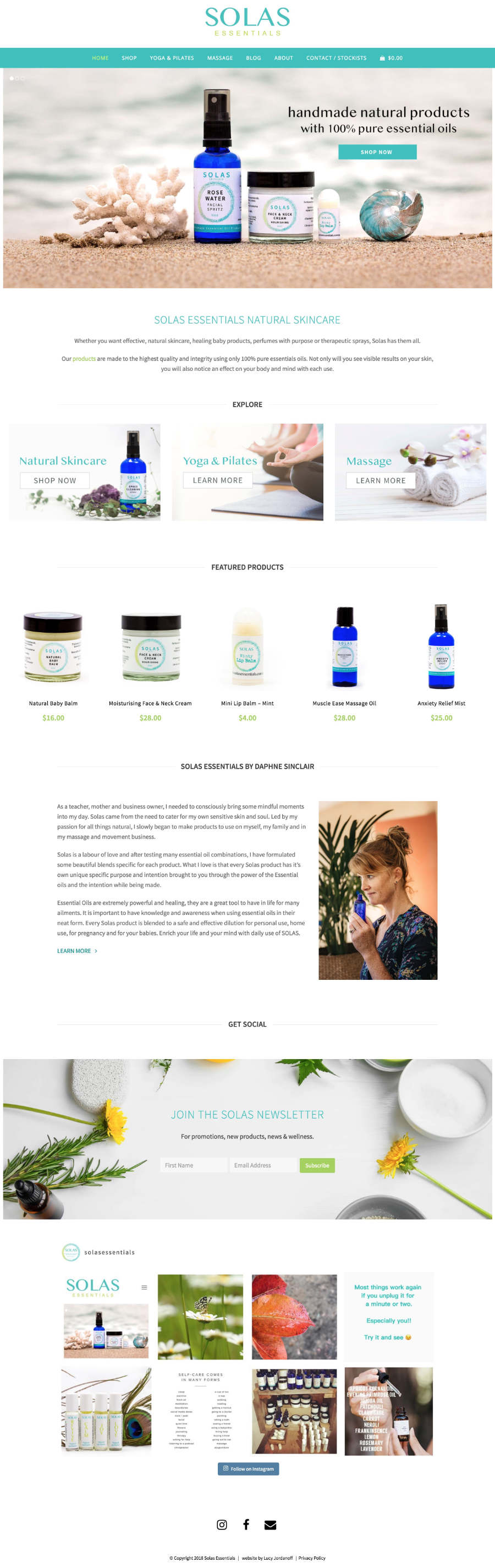 Solas Essentials Lucy Jordanoff Web Design