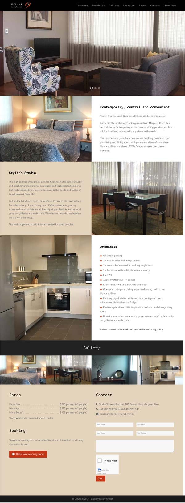 Studio 9 Accommodation Website Design